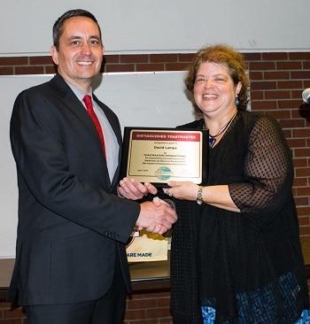 David receiving his DTM award.