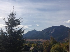 View of the Flatirons from Mapleton Hill neighborhood in Boulder.